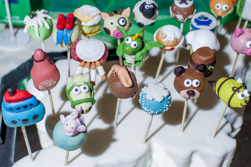 Delicious sweet dessert cake pops, selective focus stock images