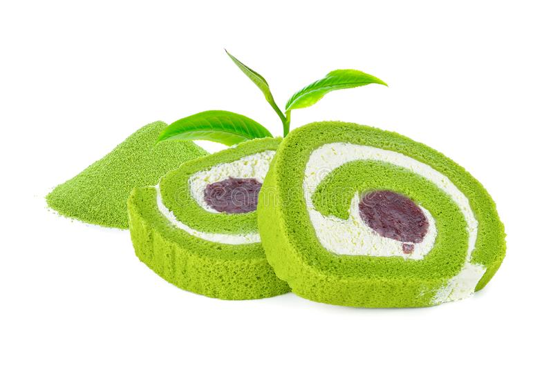 Delicious sweet green tea roll cake isolated royalty free stock photos