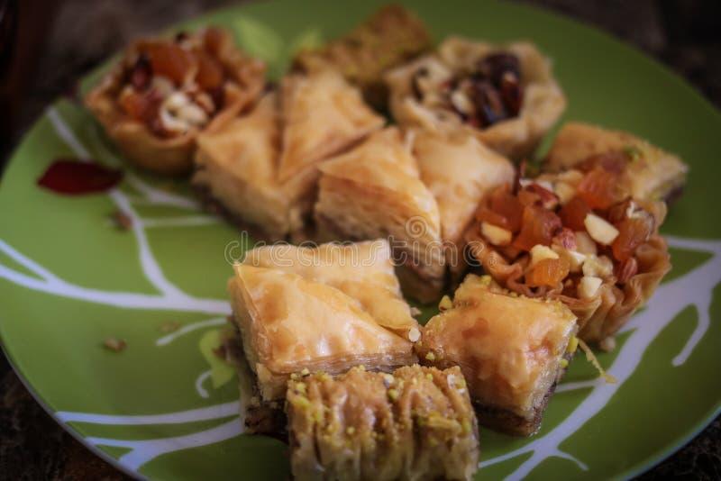 Delicious sweet Mediterranean desserts royalty free stock photo