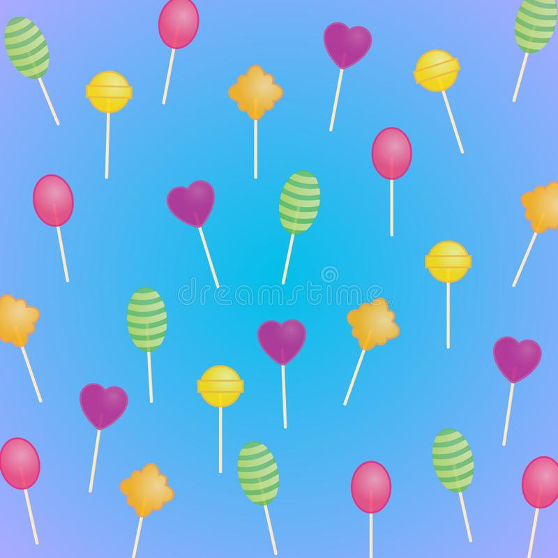 Delicious sweet pattern: transparent lollipops on a blue background with a purple hue. Beautiful vector texture vector illustration