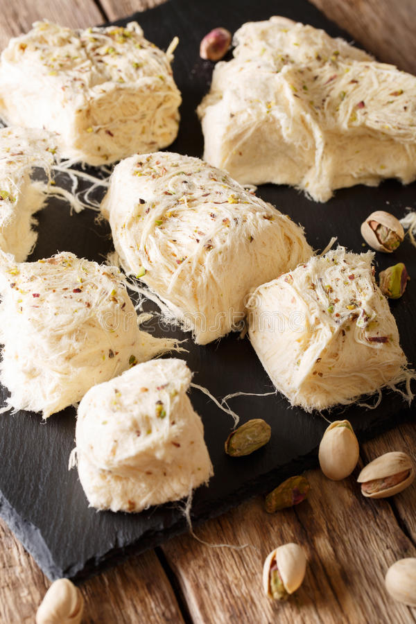 Delicious sweetness of dessert pismaniye with pistachio nuts clo royalty free stock photography