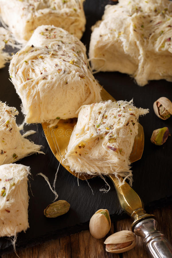 Delicious sweetness fresh dessert pismaniye with nuts pistachios stock images