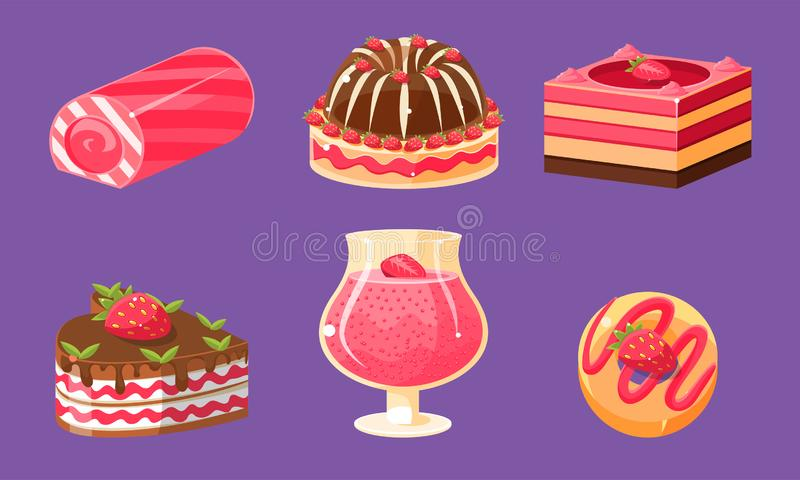 Delicious Sweets and Desserts Set, Cake, Cupcake, Roll Cake, Pudding Vector Illustration. On Purple Background stock illustration