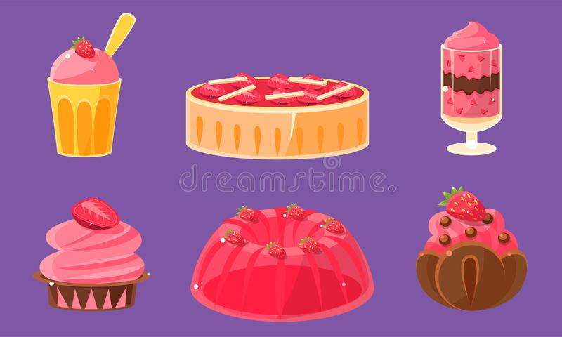 Delicious Sweets and Desserts Set, Ice Cream, Cake, Cupcake, Pudding Vector Illustration. On Purple Background vector illustration