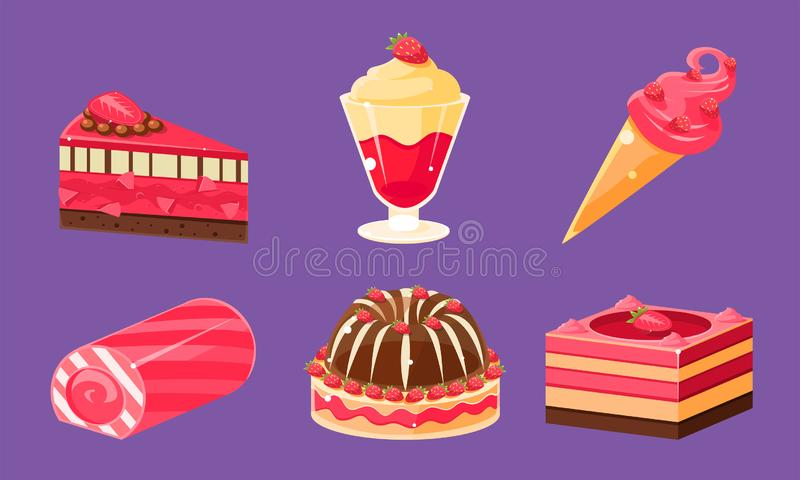 Delicious Sweets and Desserts Set, Ice Cream, Cake, Cupcake, Roll Cake, Pudding Vector Illustration. On Purple Background royalty free illustration
