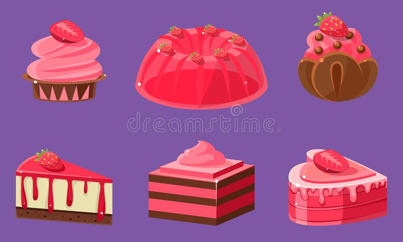 Delicious Sweets and Desserts Set, Ice Cream, Cake, Jelly, Cupcake, Roll Cake, Pudding Vector Illustration. On Purple Background royalty free illustration