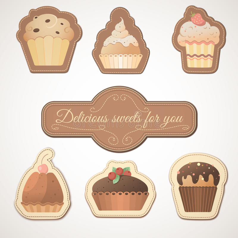 Delicious sweets: a set of cards with muffins. This is file of EPS10 format stock illustration