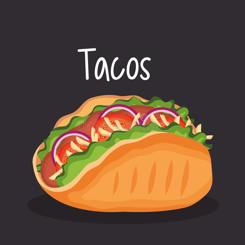 Delicious tacos mexican fast food vector illustration
