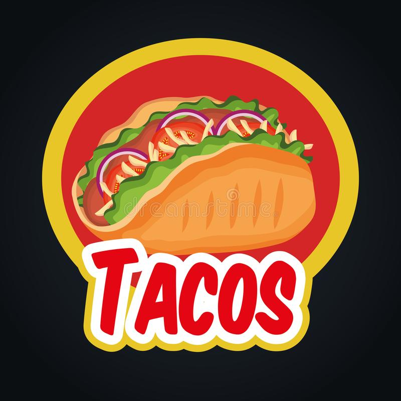 Delicious tacos mexican fast food royalty free illustration