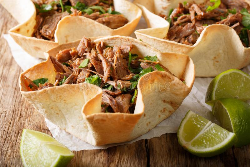 Delicious tacos with spicy pulled beef close-up. horizontal royalty free stock photo