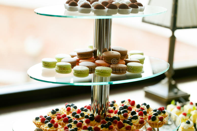 Delicious And Tasty Dessert Table At Wedding Reception Macaroons ...