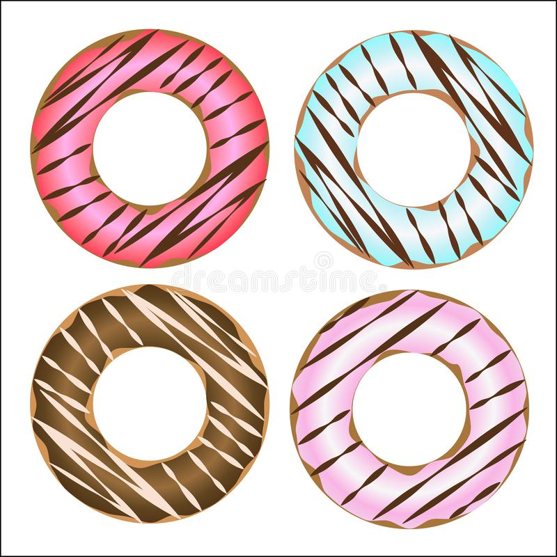 Delicious yummy pink blue donuts. Vector illustration. stock illustration