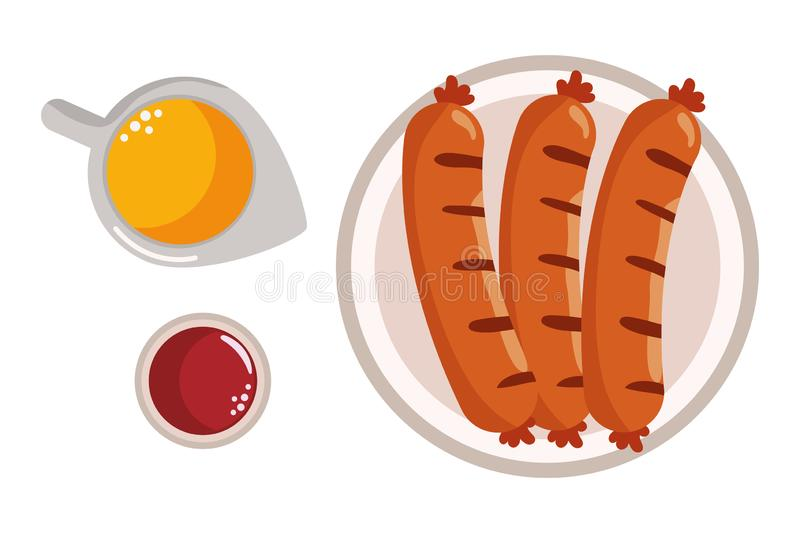 Delicious tasty food cartoon. Delicious tasty food sausages with sauces cartoon vector illustration graphic design stock illustration