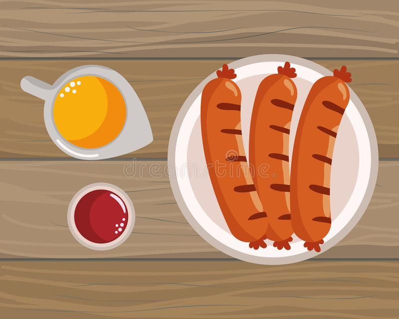 Delicious tasty food cartoon. Delicious tasty food sausages wooden background cartoon vector illustration graphic design royalty free illustration