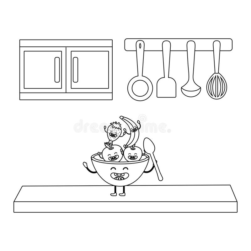 Delicious tasty fruits cartoon vector illustration