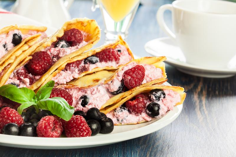 Delicious tasty homemade traditional crepes stock photos