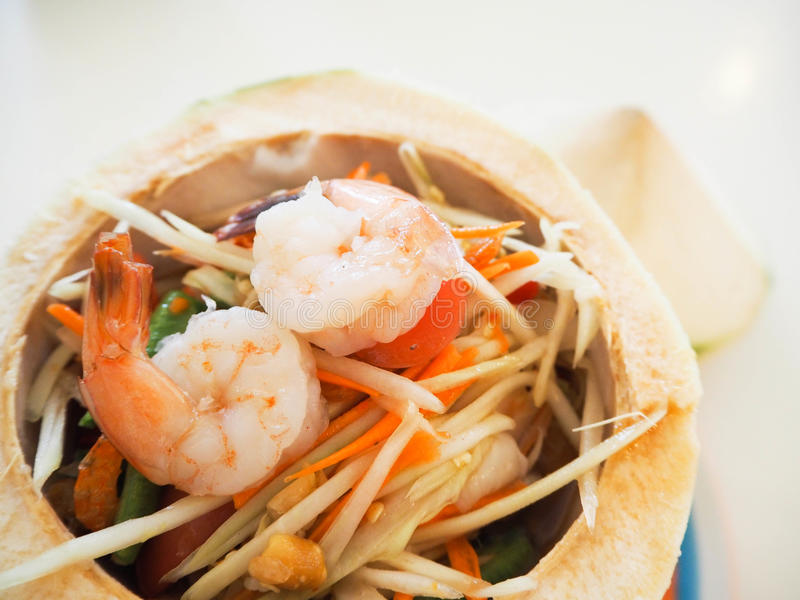 Delicious Thai food and / somtum. stock photography