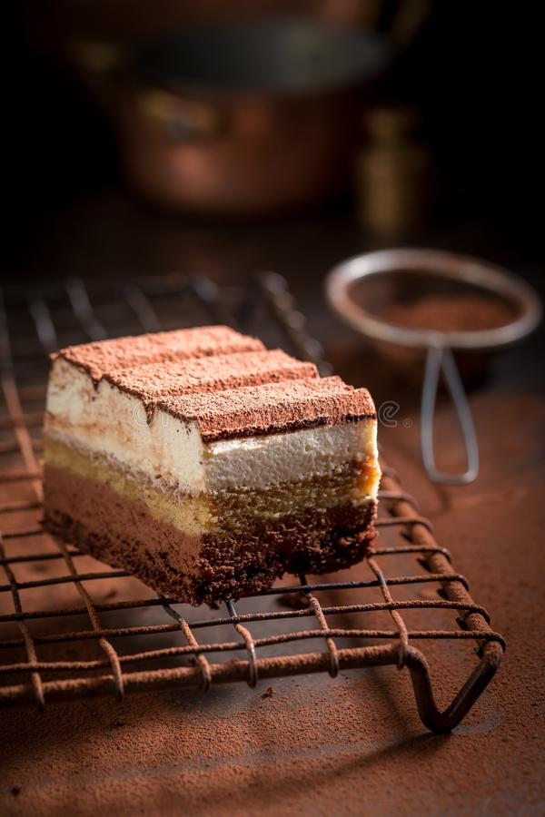 Delicious tiramisu cake with cocoa, mascarpone and biscuits royalty free stock photos