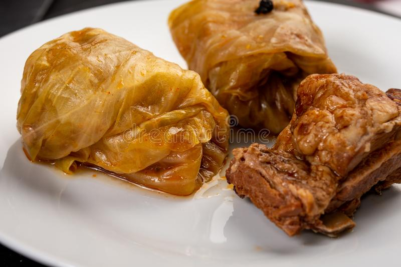 Delicious traditional Sarma with minced meat and sauerkraut. Roll, stuffed, food, vegetable, lunch, russian, plate, eating, cooked, cuisine, meal, cabbage royalty free stock image