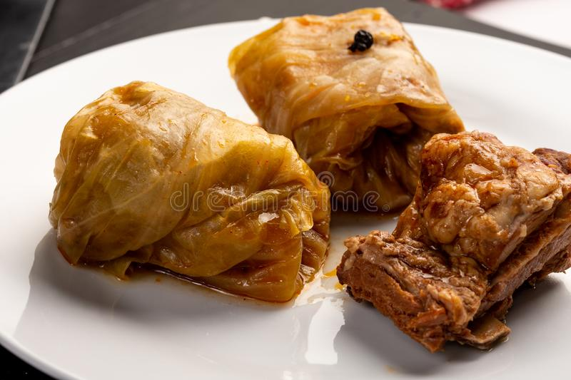 Delicious traditional Sarma with minced meat and sauerkraut. Roll, stuffed, food, vegetable, lunch, russian, plate, eating, cooked, cuisine, meal, cabbage royalty free stock photography