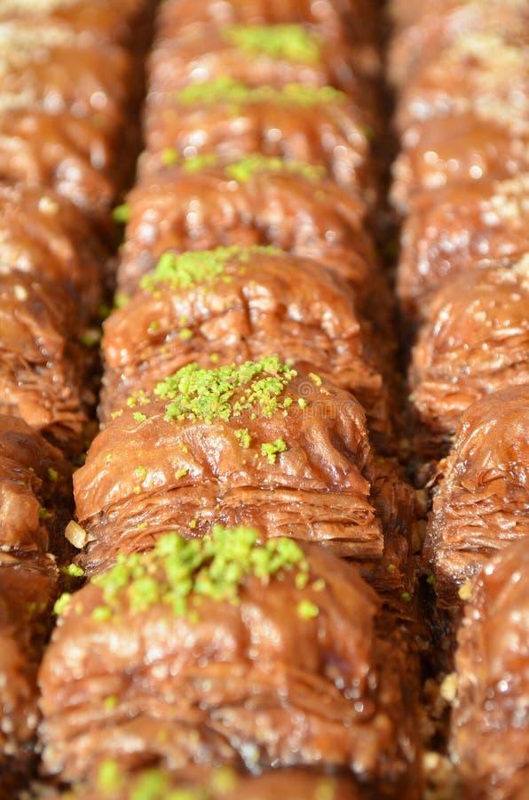 Delicious turkish dessert Baklava with pistachio fotografering för bildbyråer