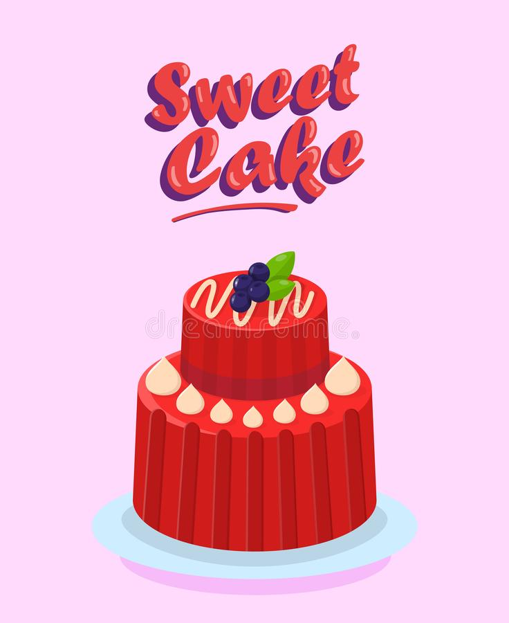 Delicious Two Tier Cake Flat Cartoon Illustration. Sweet Dessert Poster Template with Lettering. Multi Layer Pudding Drawing. Confectionery, Pastry Shop royalty free illustration