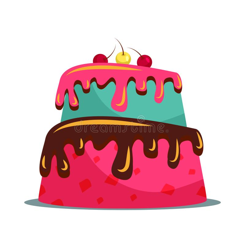 Delicious two tier cake flat vector illustration. Sweet multi layered dainty with creamy icing and cherries. Confectionery, candy shop menu item. Tasty stock illustration