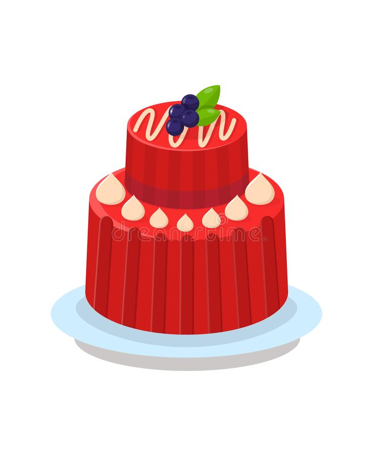 Delicious Two Tier Cake Flat Vector Illustration. Tasty Dessert Color Cartoon Drawing. Delicious Multi Layer Pudding. Pastry Shop, Confectionery, Buffet stock illustration