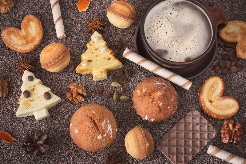 Delicious variety of homemade Christmas cookies. stock images