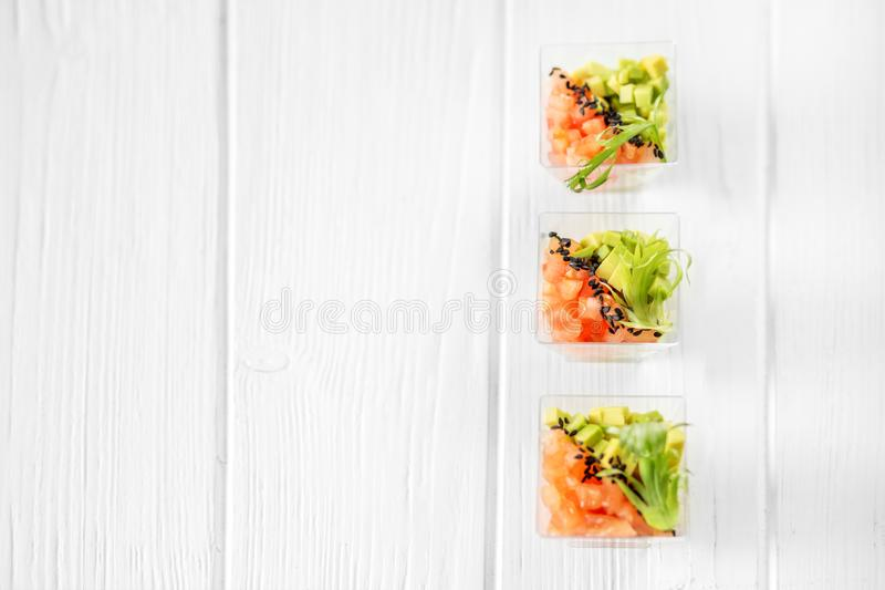 Delicious vegetable appetizers with avocado and tomato in cups. Concept for food, diet, healthy food, restaurant and catering stock photos