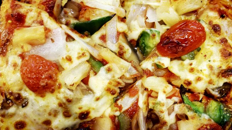 Delicious vegetable pizza italian food with macro backgrounds royalty free stock images