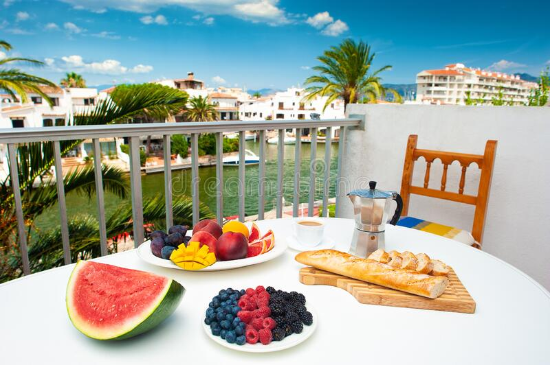 Delicious vegetarian breakfast on hotel terrace royalty free stock photos