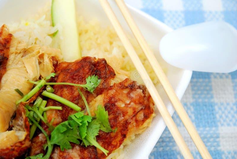 Delicious vegetarian chicken rice stock photo