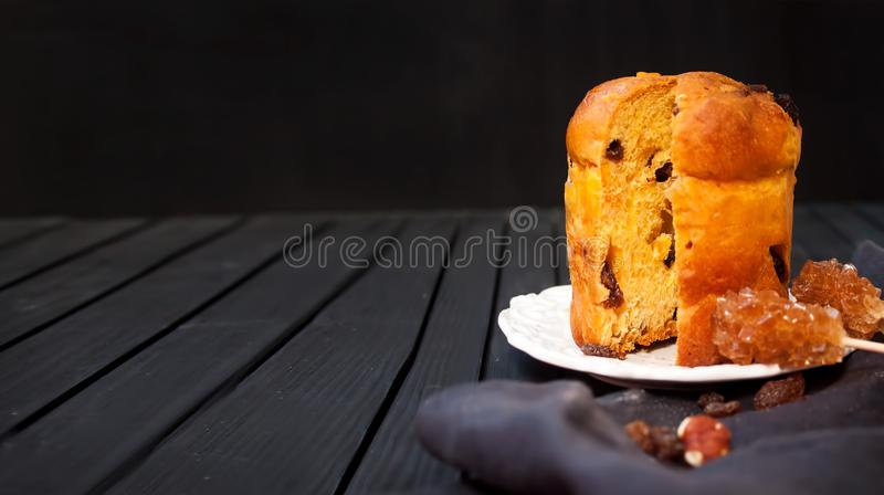 Delicious view of panettone with brown sugar stock photo