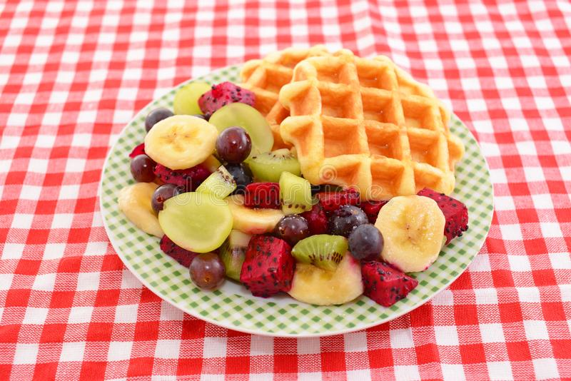 Delicious waffles. With fresh fruits royalty free stock images