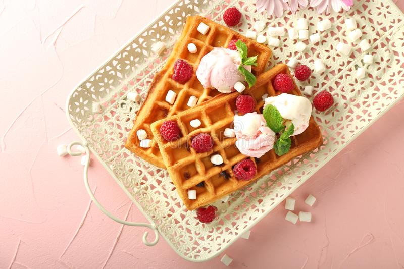 Delicious waffles with ice cream and raspberries on tray stock photography