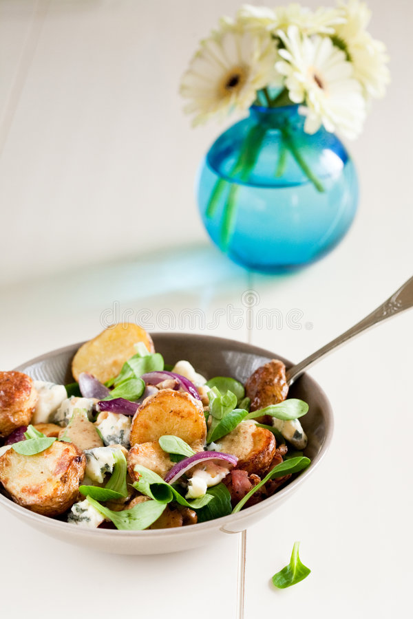 Delicious warm potato salad royalty free stock photos