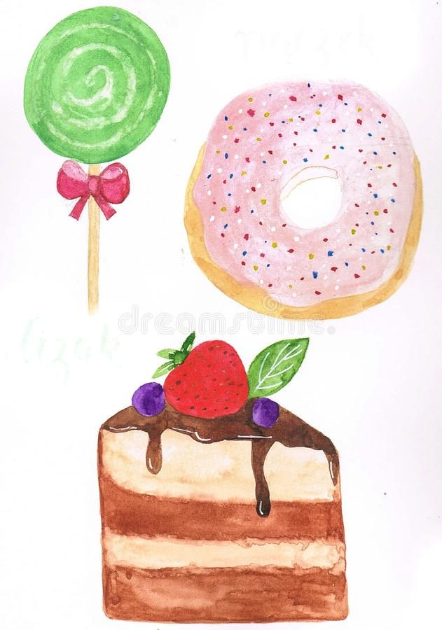 Delicious watercolor painting of a green apple lollipop, a piece of forest fruit cake and a pink doughnut with sprinkles vector illustration