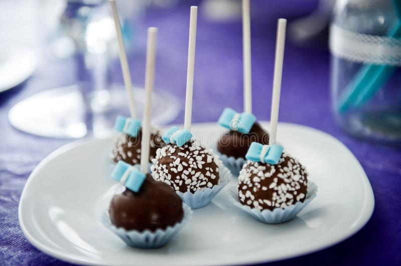 Delicious wedding, birthday or Valentin`s day cake pops in white stock images