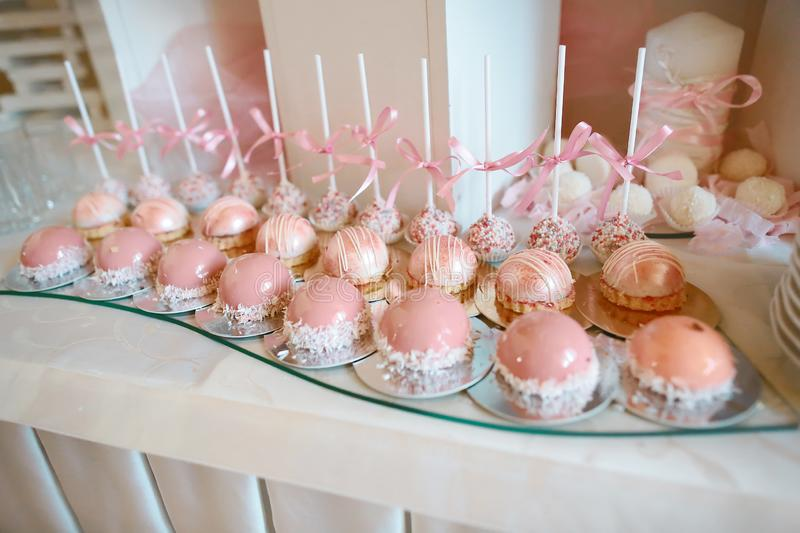 Delicious wedding reception candy bar dessert table. Catering. Buffet Party Concept stock photography