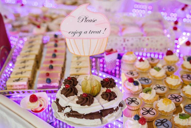 Download Delicious Wedding Reception Candy Bar Dessert Table Stock Photo