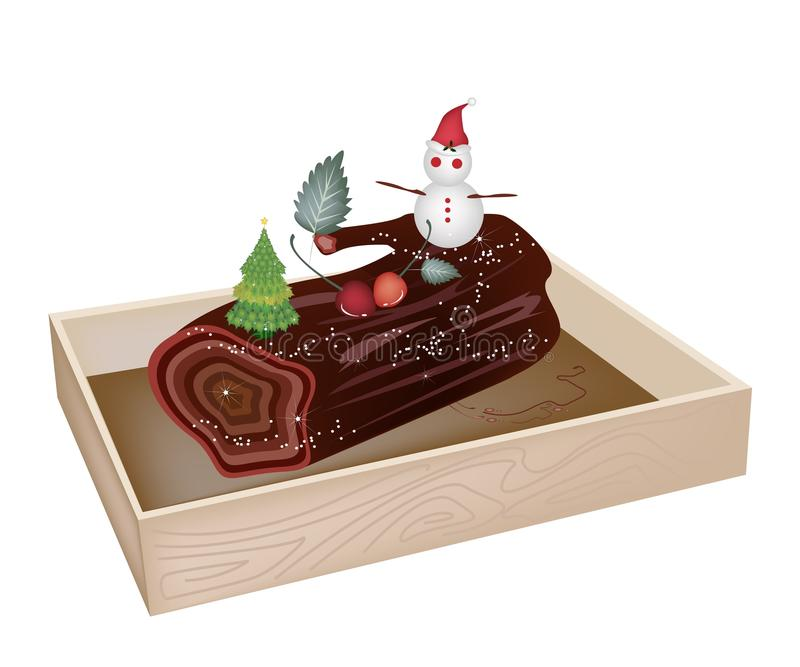 Delicious Yule Log Cake in Wooden Container. A Traditional Christmas Cake, Yule Log Cake or Buche de Noel in Wooden Box for Christmas Celebration stock illustration