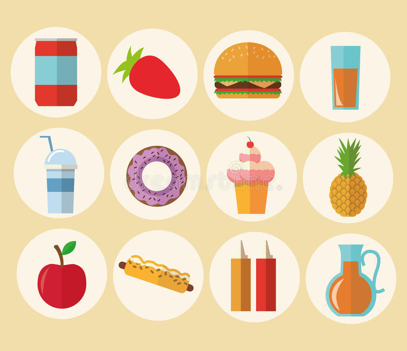 Delicius food. Food icon set icon. Menu concept. graphic. Delicius Food represented by variety of food icon over pastel and flat background royalty free illustration
