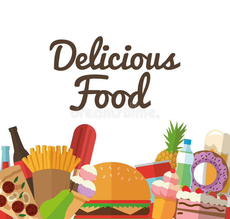 Delicius food. Food icon set icon. Menu concept. graphic. Delicius Food represented by variety of food icon over pastel and flat background stock illustration
