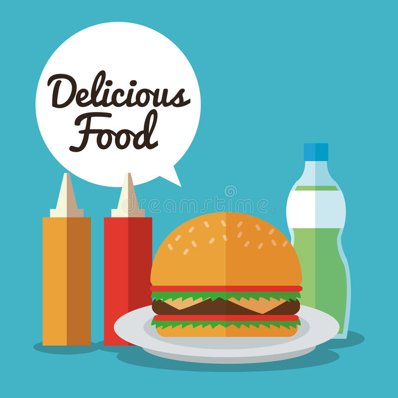 Delicius food. Hamburger icon. Menu concept. graphic. Delicius Food represented by hamburger with sauce icon over pastel and flat background stock illustration