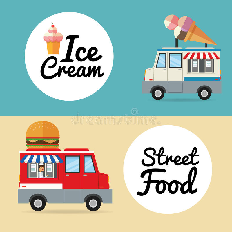Delicius food. Truck icon. Delivery concept. graphic. Delicius Food represented by hamburger and ice cream with truck icon over pastel and flat background stock illustration