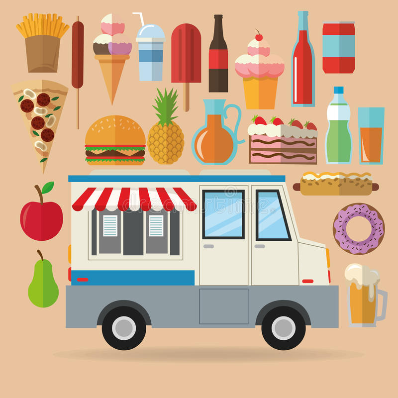 Delicius food. Truck icon. Delivery concept. graphic. Delicius Food represented by set of food with truck icon over pastel and flat background stock illustration