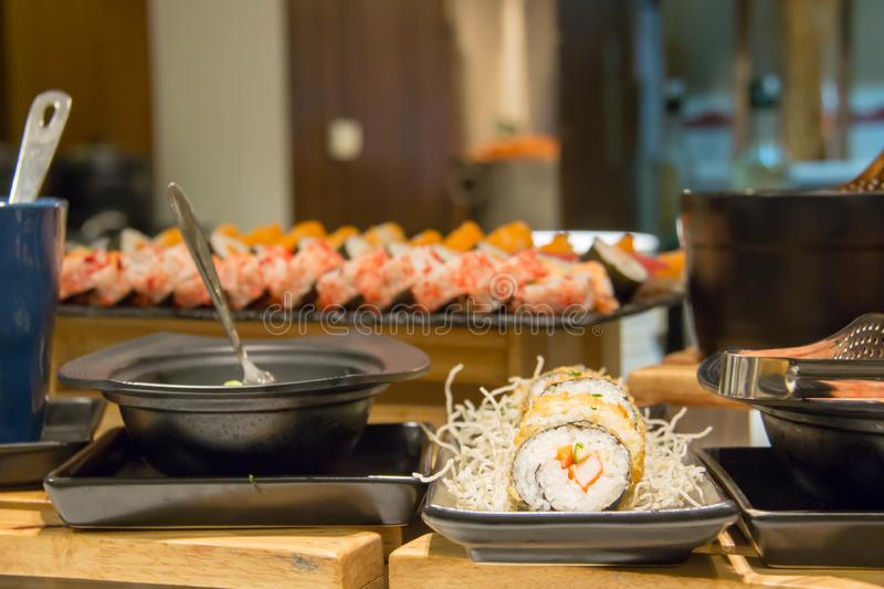 Delicous Japanese food buffet in restaurant stock images