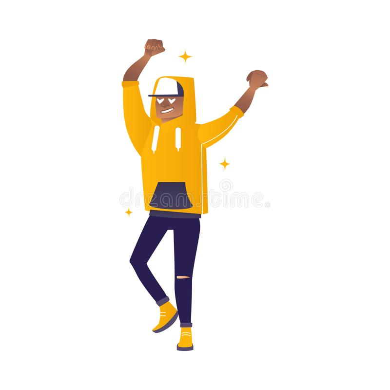 Delight and amorous african man with hands up - cartoon vector illustration. Delight and amorous african man with hands up - cartoon vector illustration of royalty free illustration