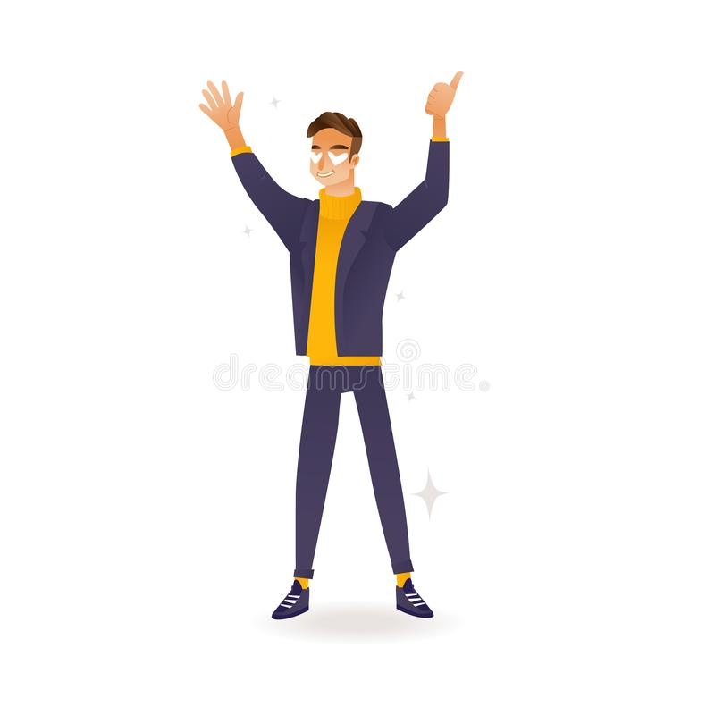 Delight and amorous caucasian man with thumbs up gesture. Delight and amorous caucasian man with thumbs up gesture - cartoon vector illustration of young happy royalty free illustration